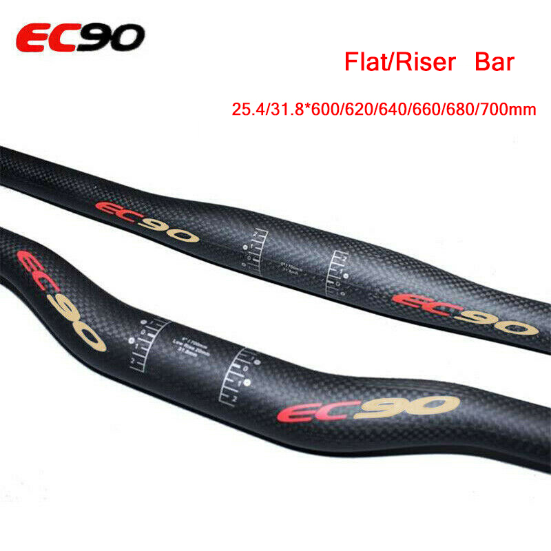 EC90 Ud Carbon Handle bar Road Bike Handlebar 3K Riser Bar Flat Bar 25.4/31.8 Length 600/620/640/660/680/700 Cycling Handlebar