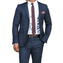 ゴージャスなスリムダークブルー結婚式のスーツカスタムメイド男性ブルースーツ 2019 ファッションスタイルビジネススーツ仕立てブルータキシード
