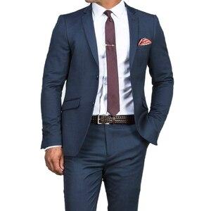 Image 1 - Traje de boda azul oscuro para hombre, traje azul ajustado, a la moda, traje de negocios a medida, esmoquin azul, 2019