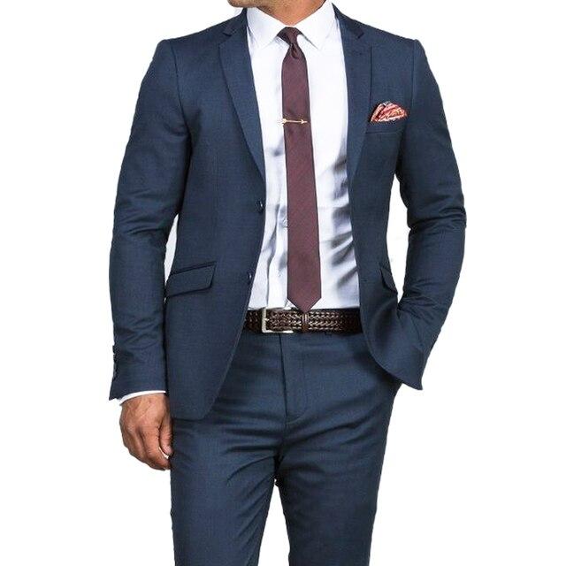 Traje de boda azul oscuro para hombre, traje azul ajustado, a la moda, traje de negocios a medida, esmoquin azul, 2019