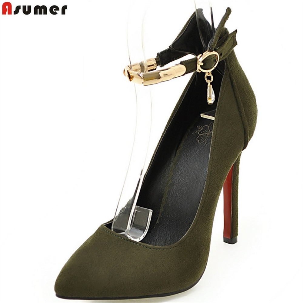 Asumer plus size 33-47 pointed toe ladies pumps shallow elegant prom shoes super high buckle thin heel fashion high heels shoes spring autumn shoes woman pointed toe metal buckle shallow 11 plus size thick heels shoes sexy career super high heel shoes