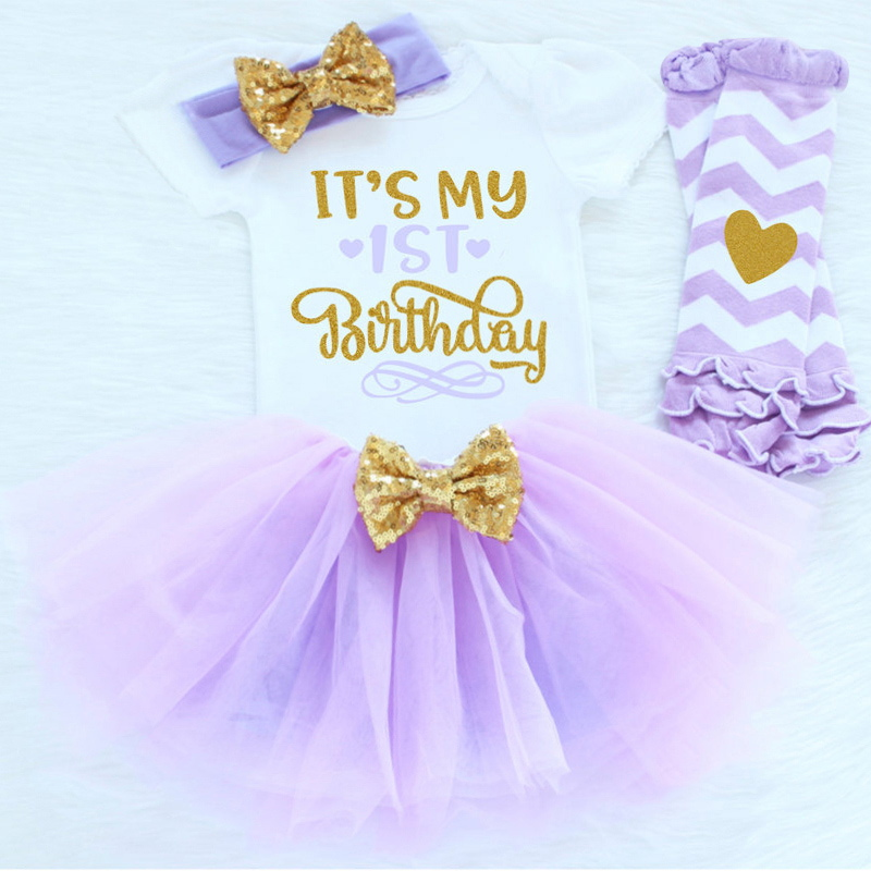 HTB159cnSXXXXXcfaFXXq6xXFXXX3 - 0-12M Infant Baby Girl Clothes 4pcs Clothing Princess Dresses Stocking Headband Newborn Kid Clothes First Birthday Party Outfits