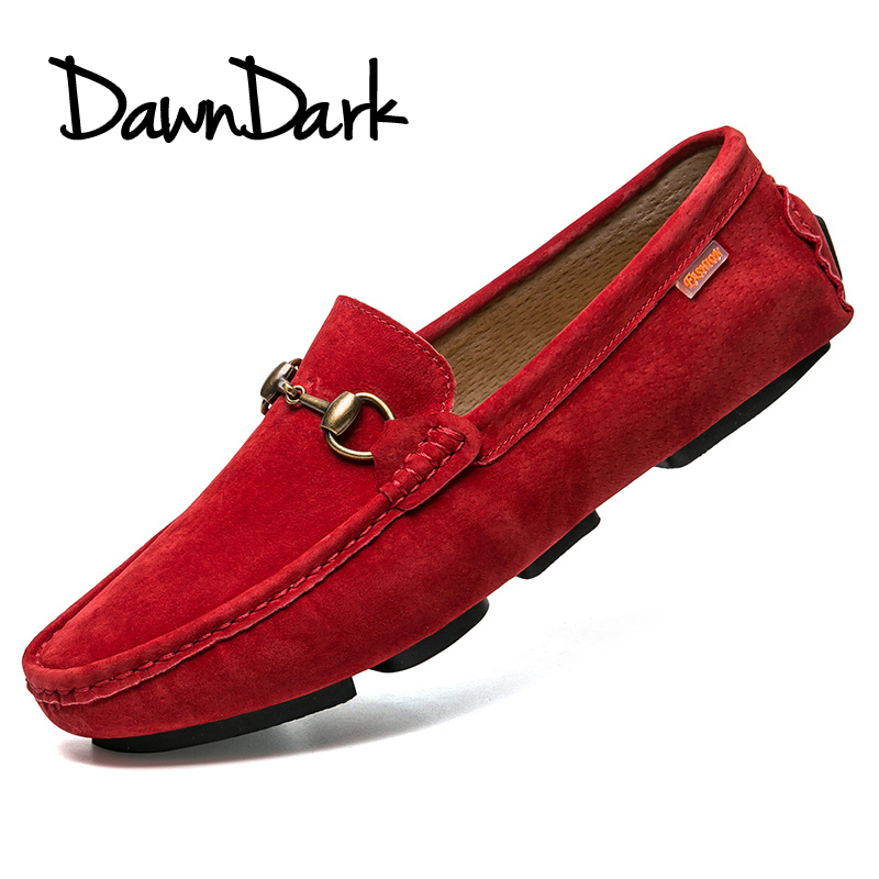Men leather casual Shoes Slip On male flat walking Loafers spring summer red gray man pig suede fashion Designer Shoes ifrich spring summer men leather fashion shoes black white male flat split leather shoes comfortable man casual footwear