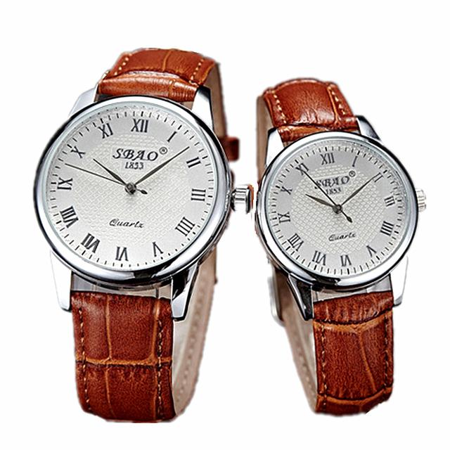 Sbao Banda de Couro Marrom Relógios Casal Amante Simples Moda Preto Cinta Senhoras Relógio À Prova D' Água Quartz Amante Do Relógio Homem