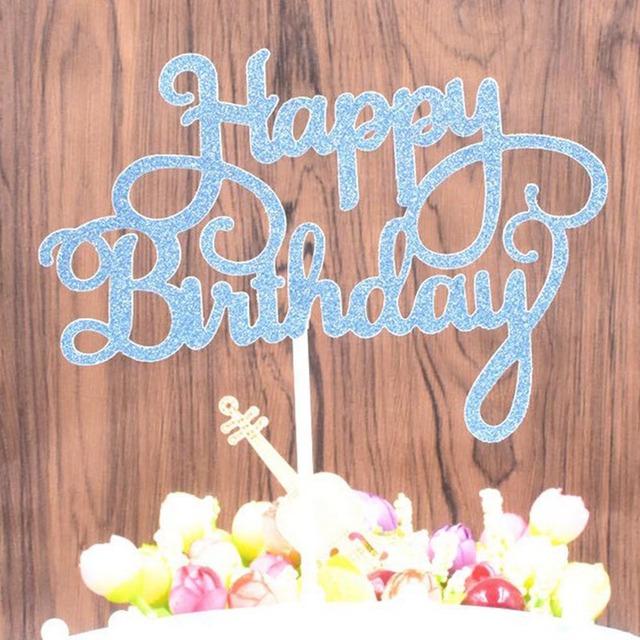 Happy Birthday Cake Topper Creative Dessert Cake Decorations Children Kids Baby Boy Girl Adult Party Decoration Supplies