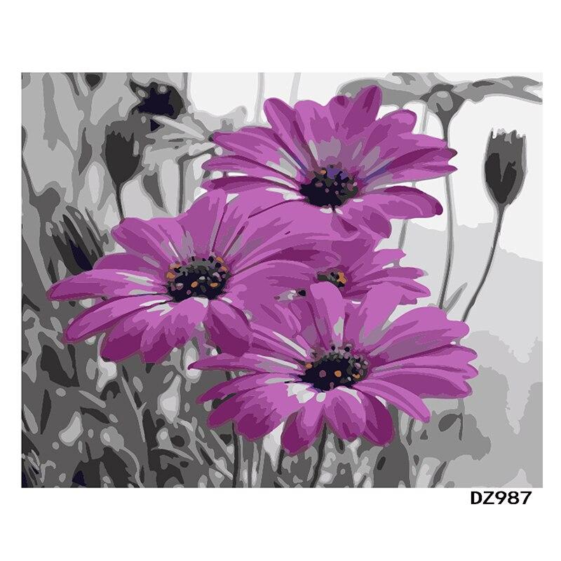 Pintura Por Números DIY Dropshipping 40x50 50x65cm Belas flores roxas Decoração Do Casamento Da Flor Da Lona de Arte imagem Presente