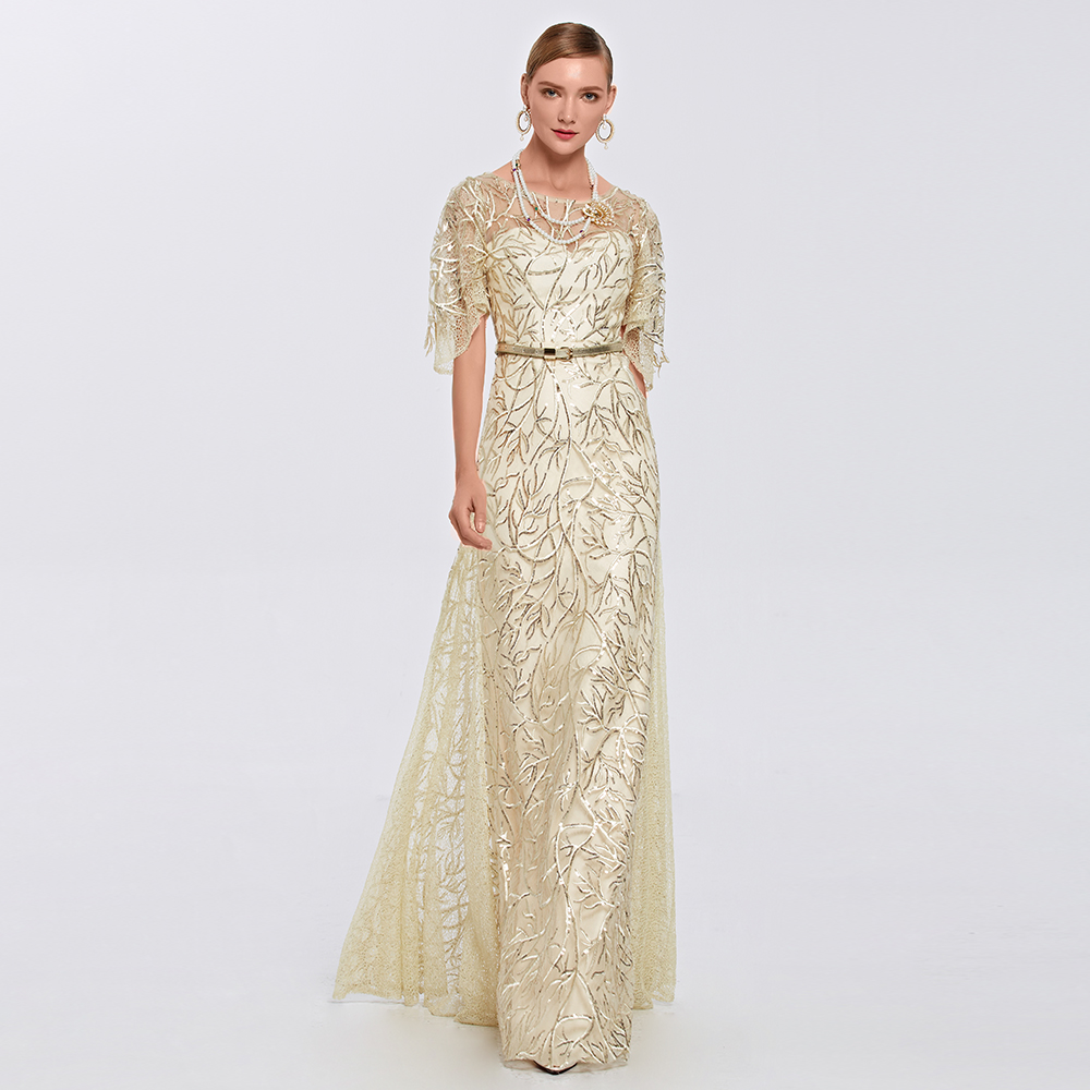 Buy Cheap Coniefox Scoop Half Sleeves Embroidery Beige Long Sequins Prom Dresses Formal Long Dresses 31388