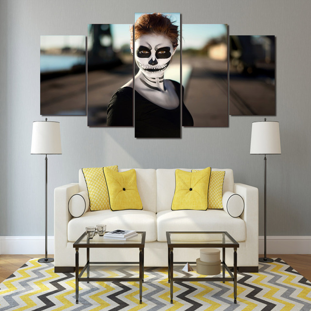 hd printed girl halloween poster 5 pieces group painting room decor