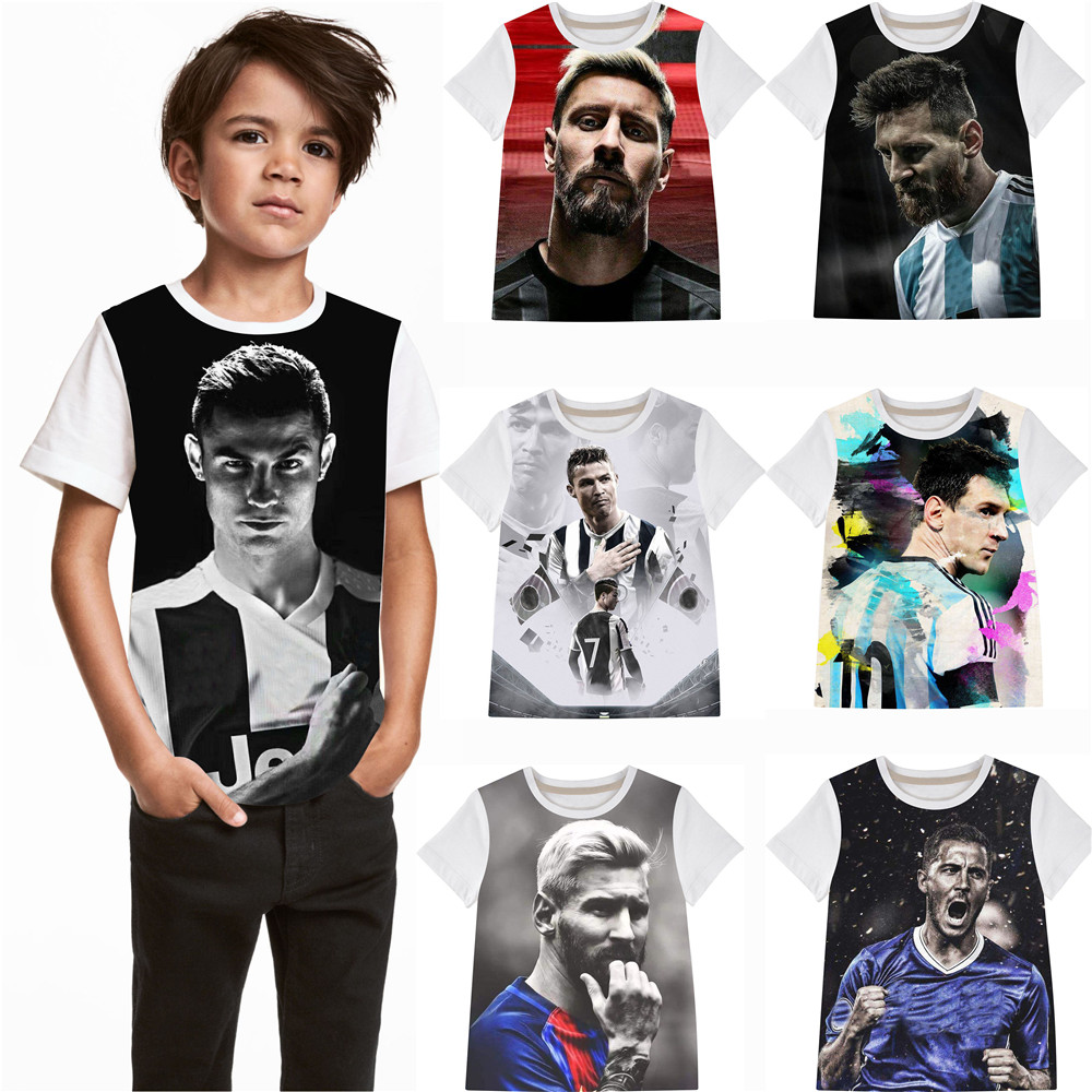 Boy big brand football t-Shirts Children Boys Fashions 2019 fashion Kids T-shirt  boys T-Shirt Tops Tees  Clothing(China)