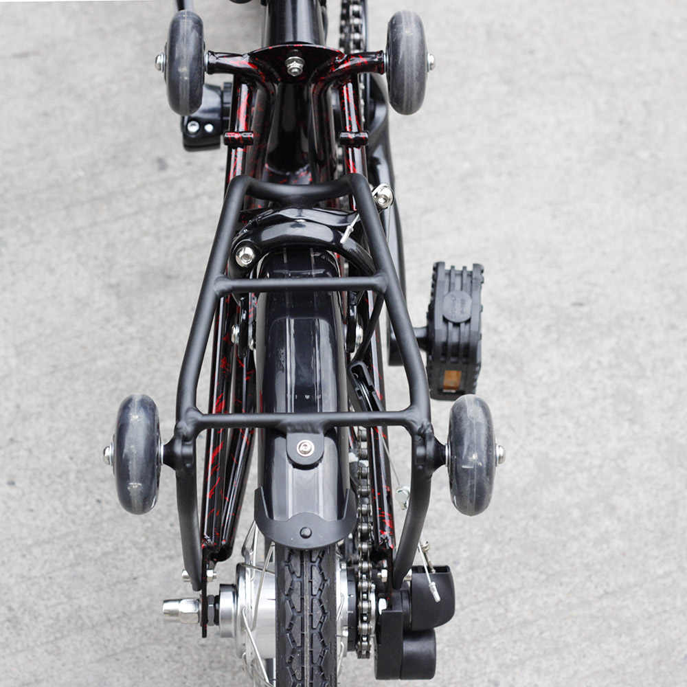 """3 Sixty Chrome Steel Sepeda Lipat 16 """"349 Urban Commuter Sepeda dengan Rem Caliper Mini Rak Belakang Dalam 5 kecepatan Lipat Sepeda"""