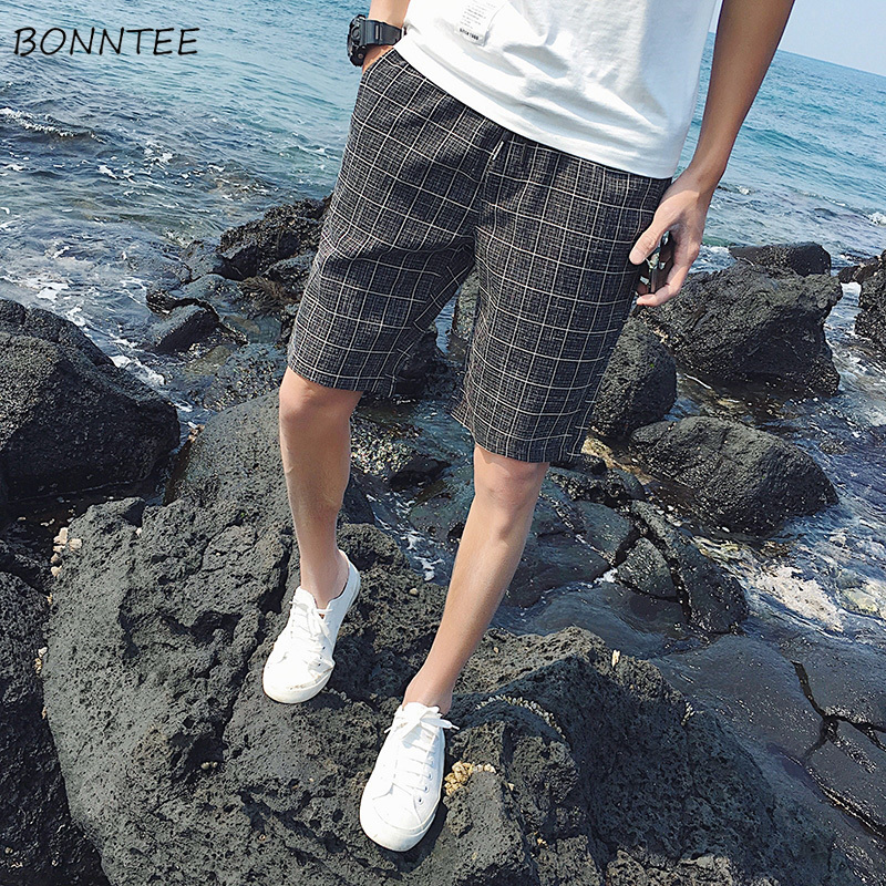 Shorts Men Knee-Length Korean-Style Breathable New Plaid Daily Leisure Trendy Various-Color