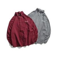New Japanese Harajuku simple plaid wild long sleeved shirt men and women couple stand collar small fresh bottoming shirt