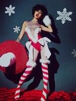 Пикантные красные бинты боди полые Танец Бар ночной клуб костюм комбинезон вечерние певица танцор Носите Рождественская шапка Baalmar DJ DS