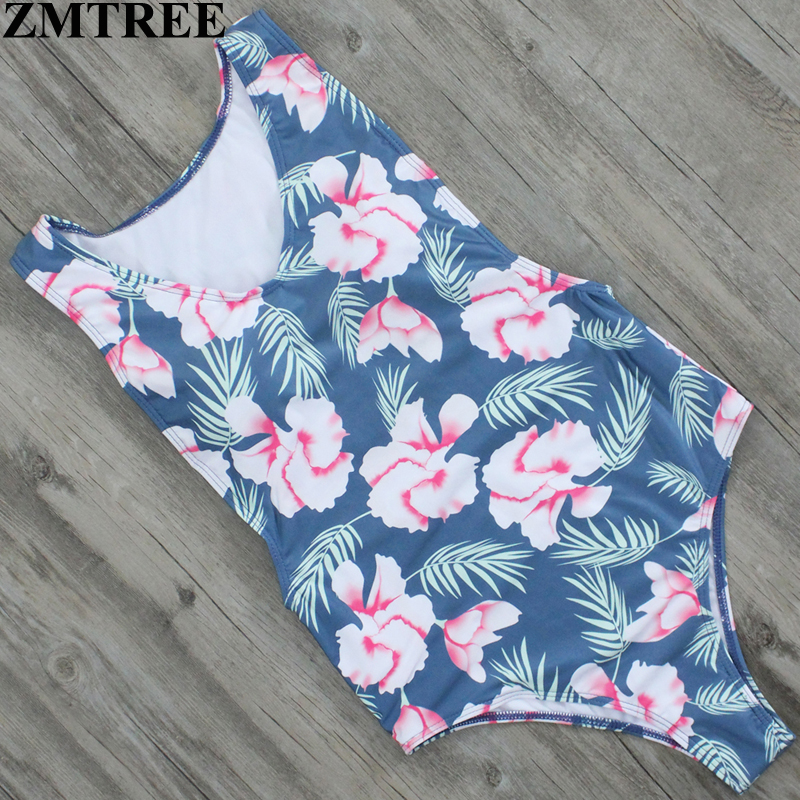 ZMTREE Brand 2017 Exclusive Design Floral Print One Piece Swimsuit Swimwear New Women Sexy Monokini Plus Size Bodysuit Female XL