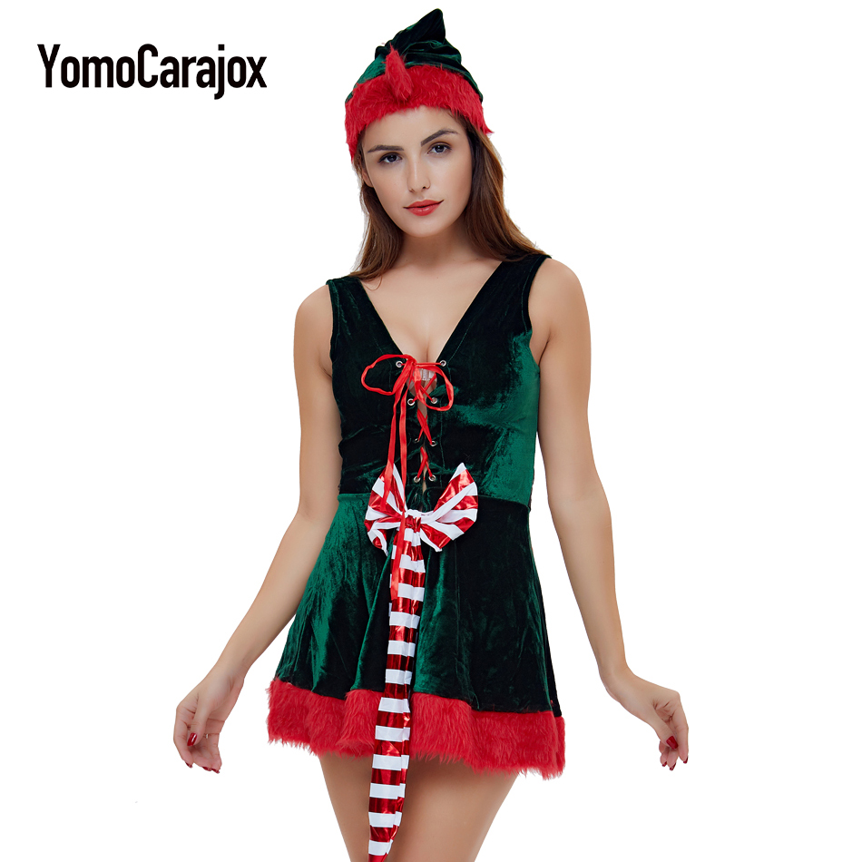 Christmas Cosplay Erotic Costume Female Hot 2017 Halloween Uniform Role Playing for Adult Santa Clause Baby Doll Sexy Lingeries
