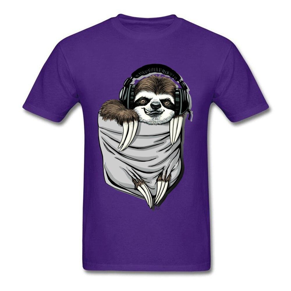 Прочный Шарм DJ Музыкальная гарнитура Ленивец Спортивная футболка мужская Спортивная Футболка серая футболка Kawaii дизайн карманный монстр одежда - Цвет: Purple