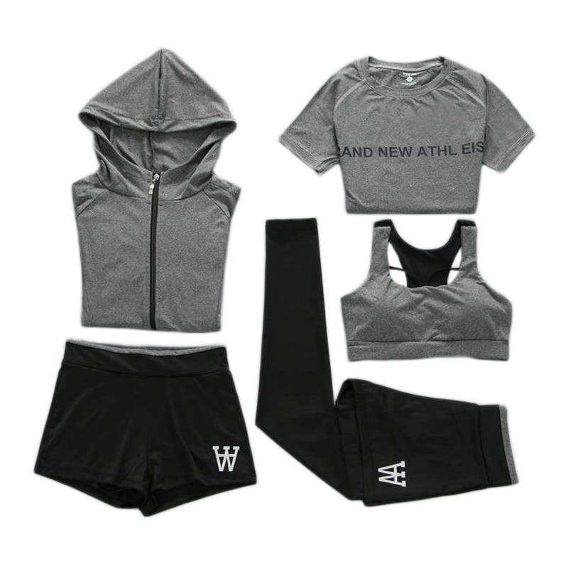 Femmes course Sport Fitness 5 pièce ensemble confortable Jogging costumes pour femmes mujer 2019 grande taille XXL survêtement Yoga Sport porter
