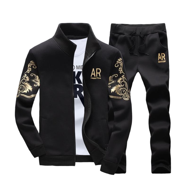 Mens New Sweatshirt + Pants 2pcs/set Zipper Cardigans Prints Stand Collar Casual Tracksuits Big Size Plus Black Navy Gray Y1716
