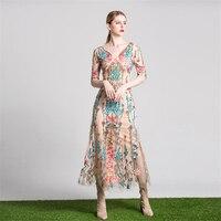 UNIQUEWHO Girls Women Boho Chic Maxi Dress Flower Embroidery Mesh Dress Slim Elegant Celebrity Party Dresses