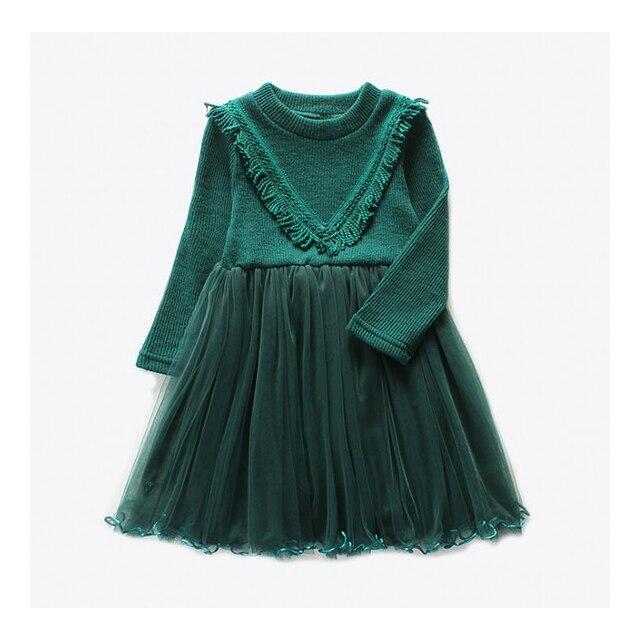 Плотное теплое платье для девочек, одежда для малышей, зимние семейные детские платья для девочек, вязаная Осенняя мода 2017, детская одежда для девочек