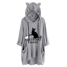 &35 Hoodies Women Casual Print Cat Ear Hooded Long Sleeves Pocket Irregular Top Blouse Shirt Blackpink Sweatshirt Women Moletom(China)