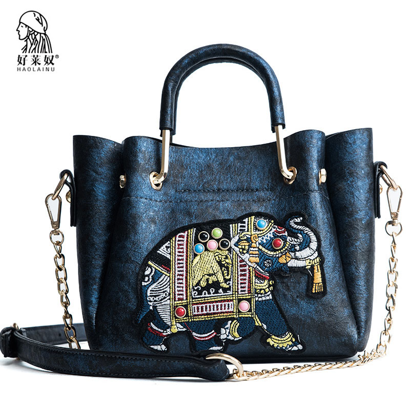 Fashion Women Handbags 2018 Ladies Soft Pu Leather Shoulder Bag Chains Embroidery Elephant Top-handle Bags Women Casual Tote Sac mengxilu bag women handbag ladies soft pu leather bag pin type women bag solid fashion shoulder sac metal handle casual tote
