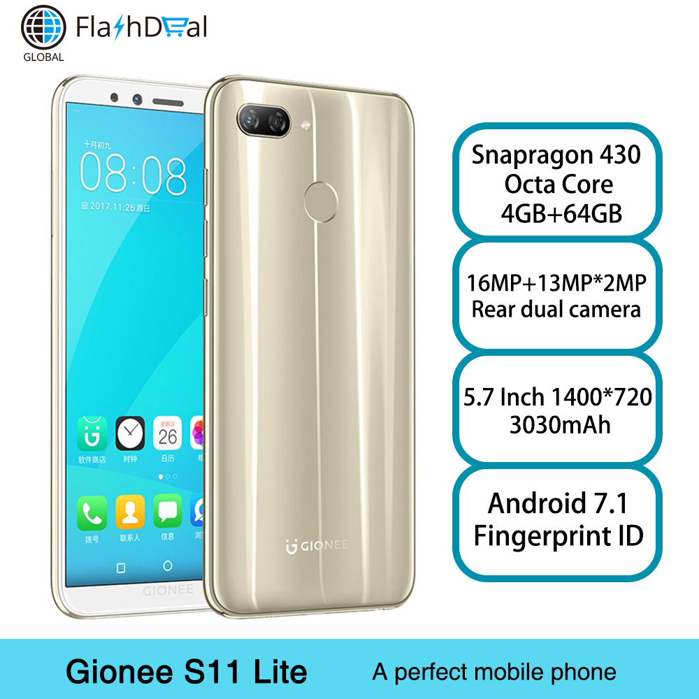 Global Version Gionee S11 Lite Android 7.1 Mobile Phone Snapdragon 430 Octa Core 5.7 Inch Fingerprint ID 4GB 64GB 4G Smartphone