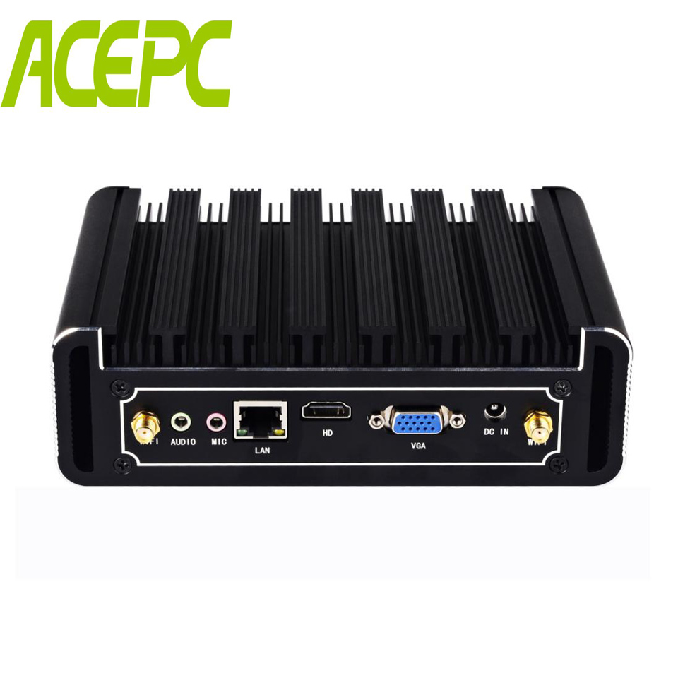 Mini ordinateur sans ventilateur Intel Core i7 5500U i5 5200U i3 5005U Windows 10 Box PC HDMI VGA 300 M WiFi 6 * USB Micro ordinateur de bureau HTPC