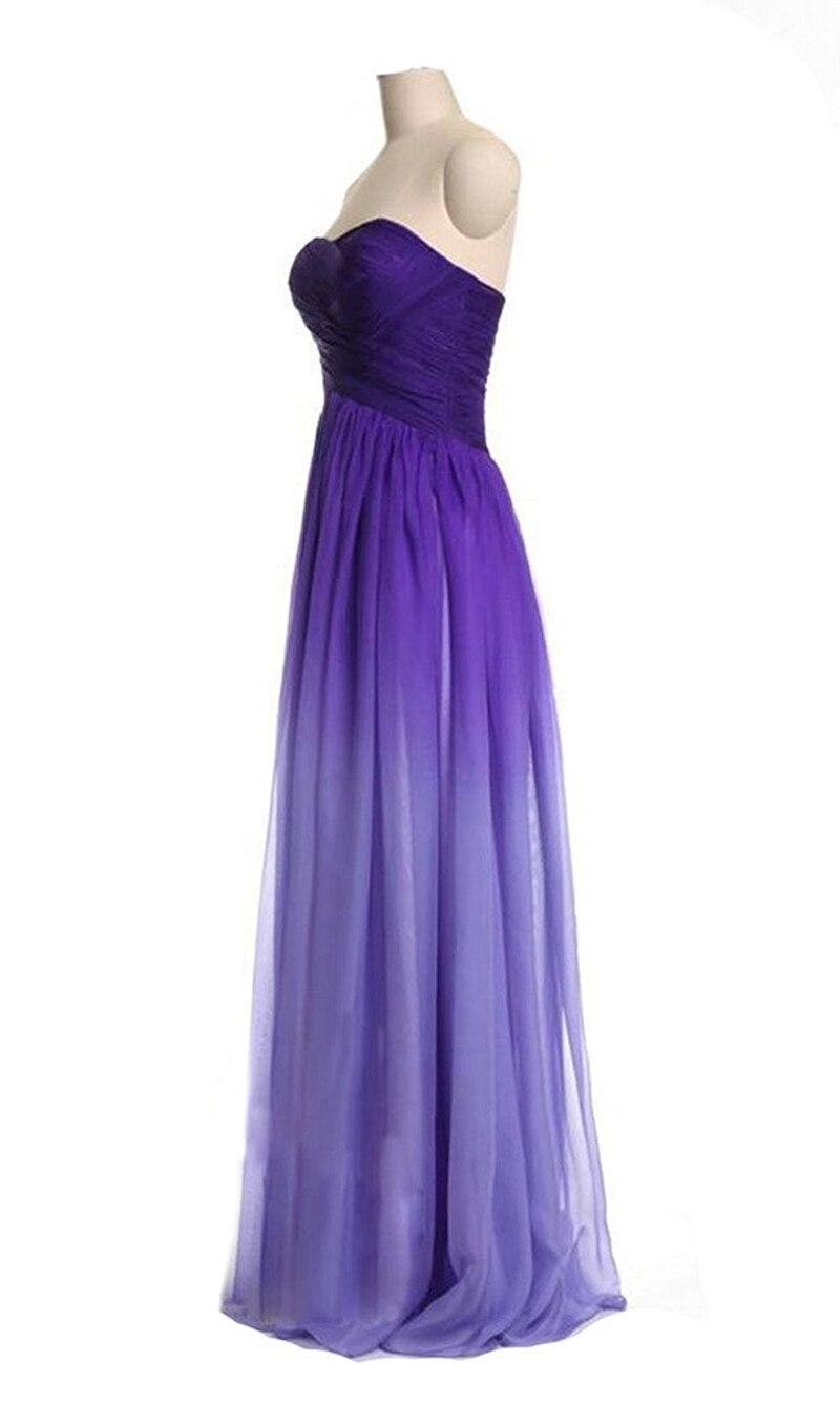 Real Image Ombre Purple Chiffon Bridesmaid Dresses 2018 Sweetheart ...