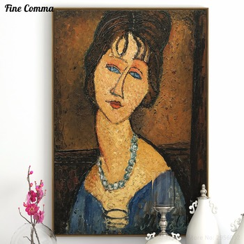 Portrait de Jeanne Hebutern au Collier Amedeo Modigliani hand made paint Oil Painting Reproduction Print Poster Canvas Wall Art image