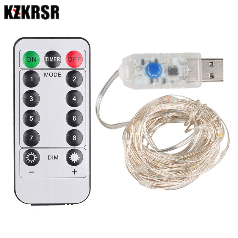 KZKRSR DC5V USB 5M 10M LED Silver Copper Wire String Lights With Remote Controller For Xmas Festival Holiday Wedding Home Decor