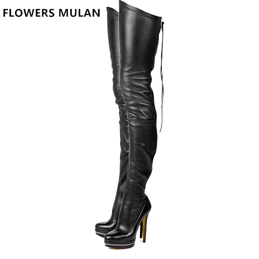 New Sexy Women Over-the-Knee Boots Platform Round Toe Thin Heels Boots Black White Shoes Woman Plus Size 4-11 Back Zipper Lady enmayer new fashion high heels long boots shoes woman over the knee zip round toe 3 colors black shoes platform shoes sexy charm