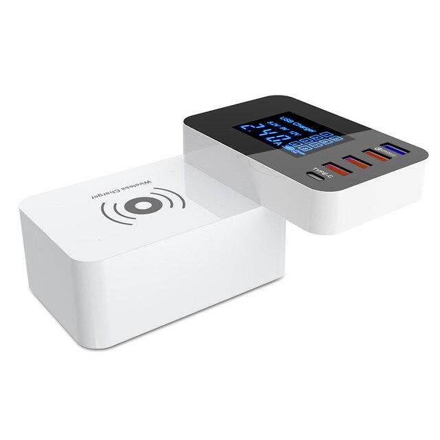 Nhanh chóng QI Sạc Không Dây Sạc Nhanh 3.0 Thông Minh USB Cắm Loại C Adapter Sạc Trạm LED Hiển Thị Di Động Máy Tính Bảng Điện Thoại sạc