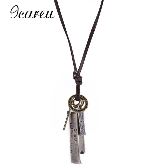 Icareu antique vintage cross dog tag hollow peace symbol pendant icareu antique vintage cross dog tag hollow peace symbol pendant necklace men long brown leather aloadofball Gallery