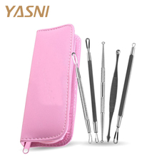 5Pcs/set Pink Color Blackhead Remover Cleaner Tool Acne Blemish Needle Pimple Spot Extractor Makeup Facial Face care FS46