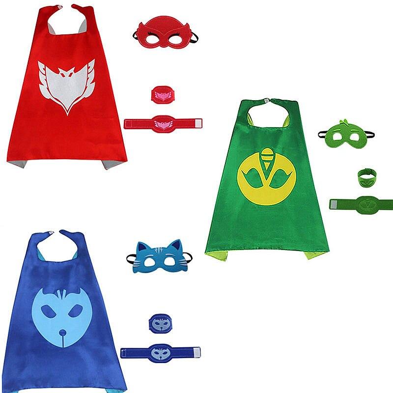 4pcs/set New PJ masks PJMasks Role-play cloak Cape and Mask Owlette Catboy Gecko Cosplay Action Toys Children costume Pj Mask