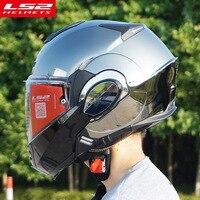 Новый LS2 FF399 флип мотоциклетный шлем могут быть преобразованы в ретро шлем Хром синий двойной линзы модульная анфас шлемы