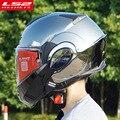 El nuevo LS2 FF399 flip up casco de la motocicleta se puede convertir en retro casco cromo azul doble lente modular completa de los cascos