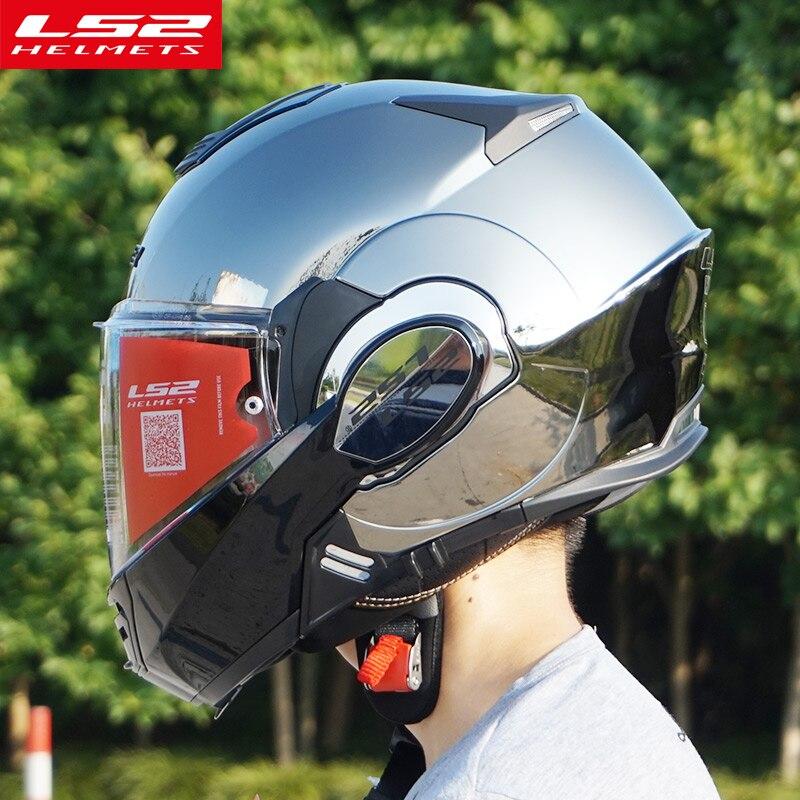 Le Nouveau LS2 FF399 flip up casque de moto peut être converti en rétro casque chrome bleu double lentille modulaire complet visage casques