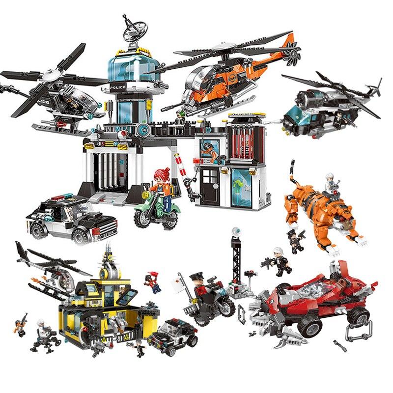 XB10001-10006 Compatible LegoINGLYs ville série poste de Police modèle blocs de construction briques techniques éducatives enfants jouets