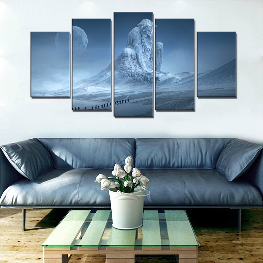 Iceberg Giant Abstract Wall Art Canvas Print Snow Mountain Monster Landscape Picture for Dining Room Home Decor Wall Painting in Painting Calligraphy from Home Garden