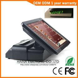 Хайна Touch 15 дюймов Ресторан кассовый аппарат с сенсорным экраном системы POS с клиентов дисплей