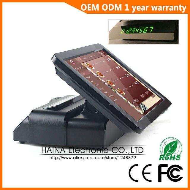 Haina touch 15 polegada restaurante tela de toque sistema pos caixa registadora com exibição do cliente