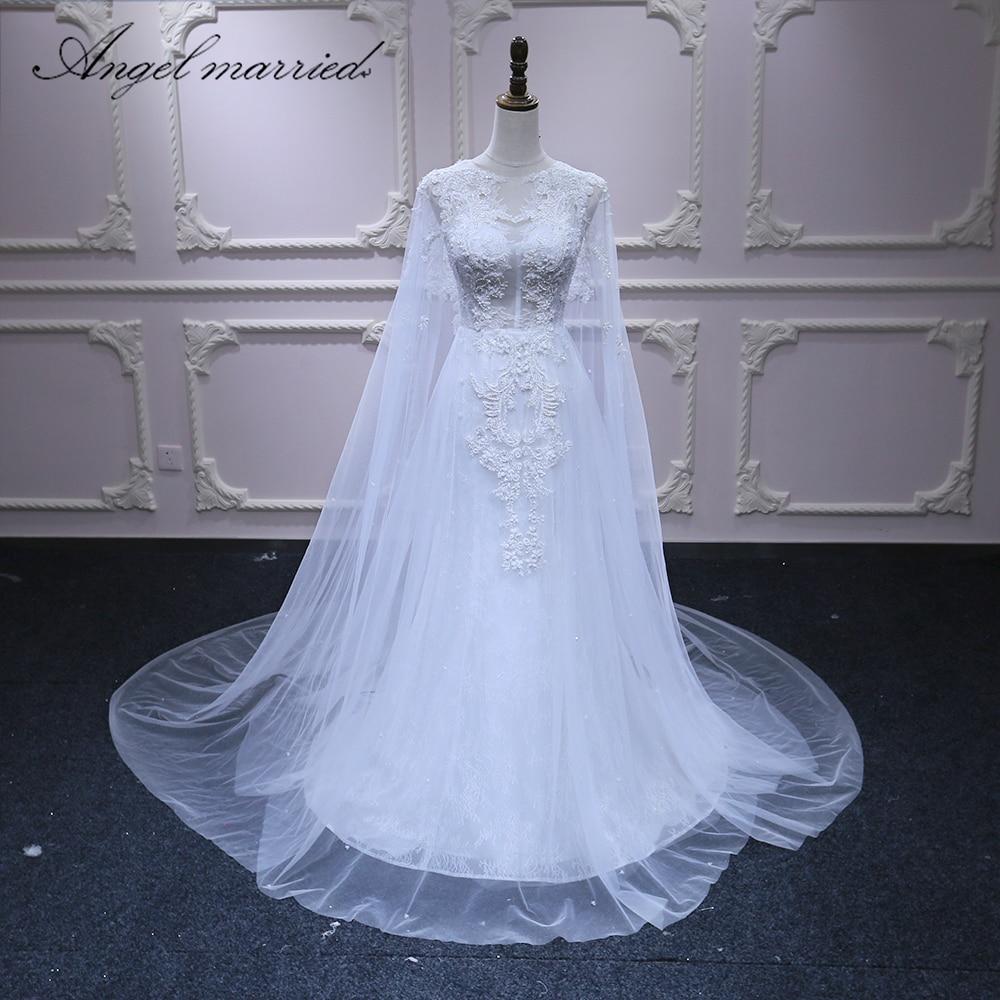 Wedding Gown Wraps: Angel Married Wedding Dress With Shawl Beach Wedding Gown