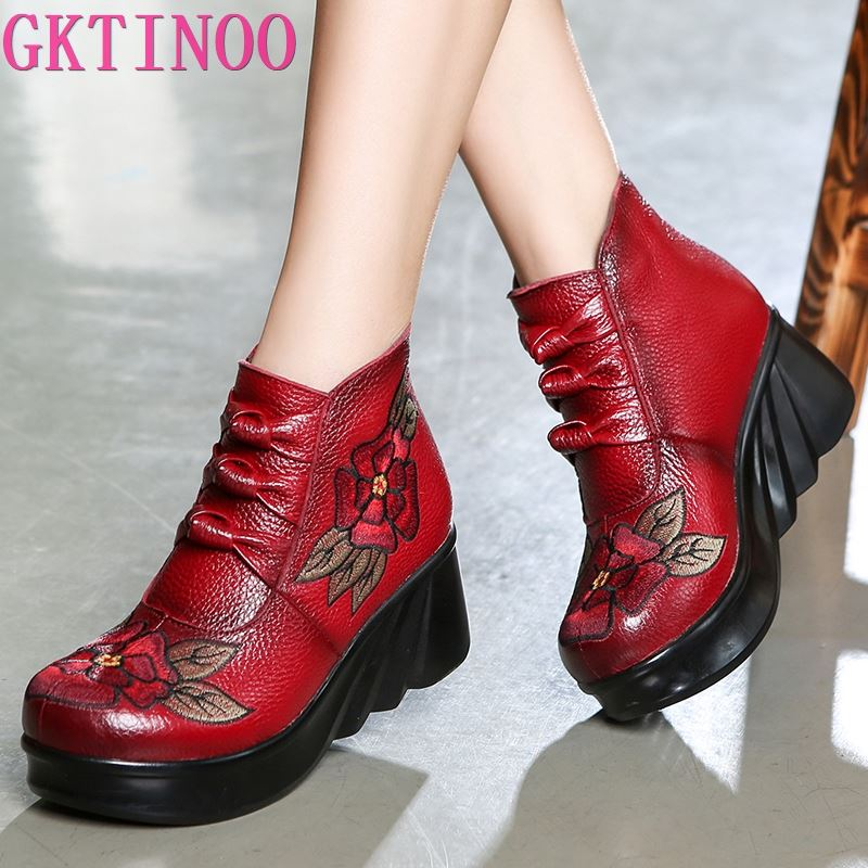 GKTINOO Fashion Handmade Boots For Women Genuine Leather Ankle Shoes Vintage Platform Women Shoes Round Toes