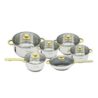 12PCS Stainless Steel Gold Plated Handle Kitchen Cooking Pots Cookware Sets Saupcepan Casserole Frypan Utensil Induction Cooker