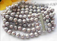 "Free shipping >>>>>>Z3462 NICE 5row 8"" 8mm gray round freshwater pearl bracelet"