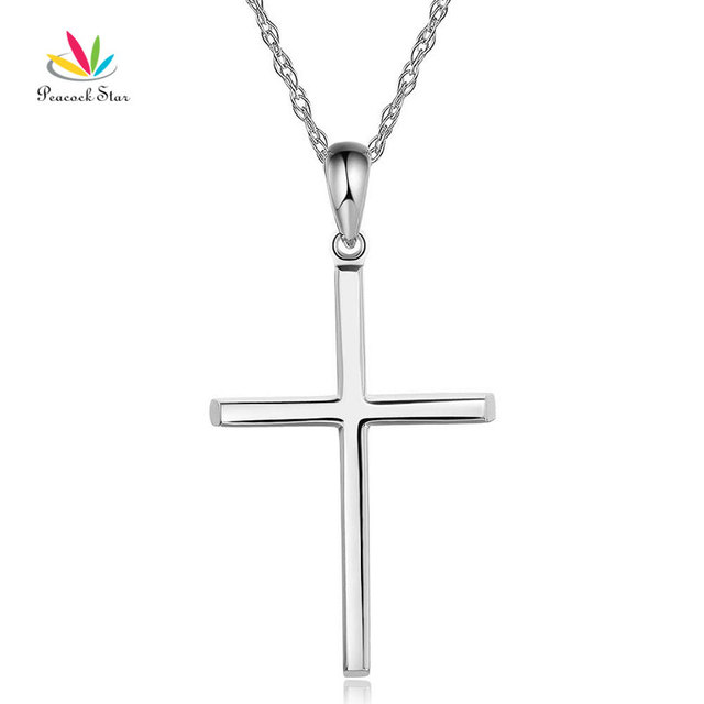 Peacock star fine 14k white gold plain cross pendant necklace peacock star fine 14k white gold plain cross pendant necklace jewelry aloadofball Image collections