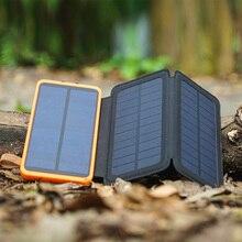 Real 3 Pliegues Cargador Solar Solar Power Bank 10000 mAh Soporte de Batería Externa Recargable Solar de Carga Solar para Teléfonos Inteligentes