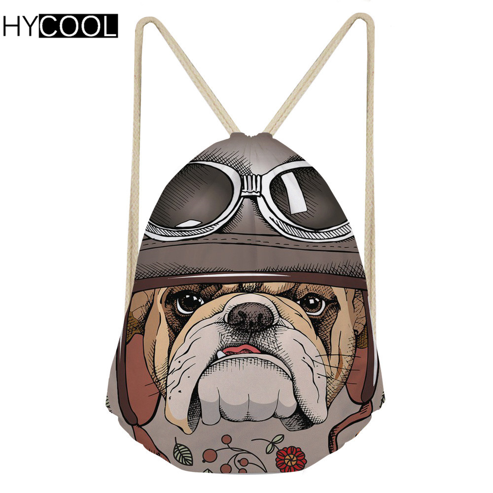 Hycool Gym Bags For Women Fitness Men Sports Drawstring Bags Floral Dog Printed Storage Shoes Bag Outdoor Teen Training Backpack